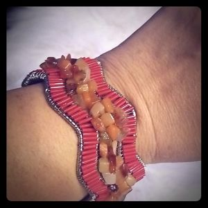 Coral silver beaded cuff bracelet